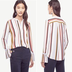 Ann Taylor Pleated Cuff Blouse Size XS Striped Top